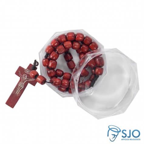 Kit Terço de Madeira Vermelha + Embalagem Italiana