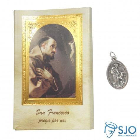 Cartão com Medalha Italiana de São Francisco de Assis