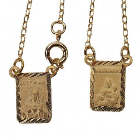 Escapulário Chapinha Diamantado Folheado a Ouro