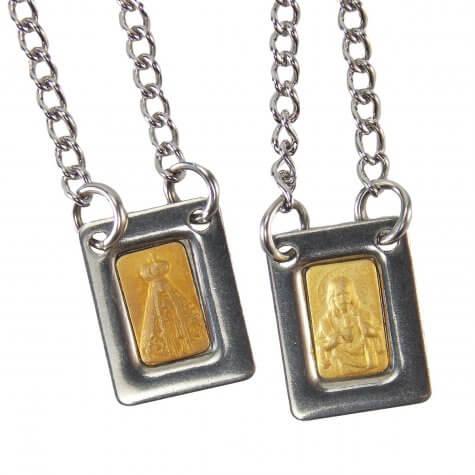 Escapulário de Aparecida Inox Dourado Mini