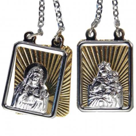 Escapulário de Inox Duplo com Dourado
