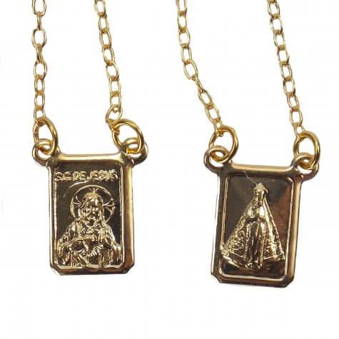 Escapulário de Nossa Senhora Aparecida Folheado a Ouro