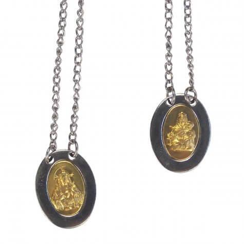 Escapulário Oval em Relevo de Inox com Dourado