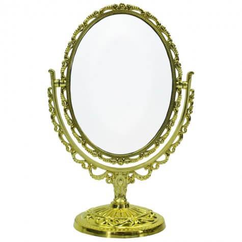 Espelho Oval Com Pedestal Prata Cor da moldura:Prata