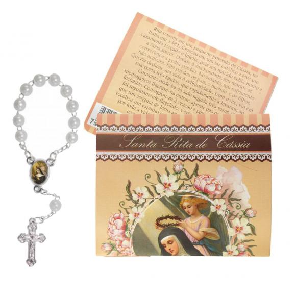 Cartão com Mini Terço Santa Rita de Cássia