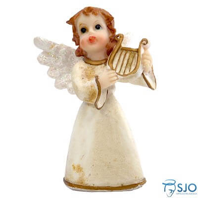 Anjo de Resina com Harpa - 10 cm