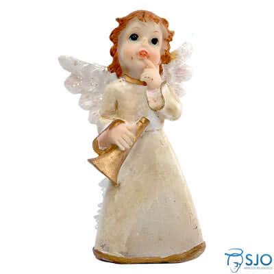 Anjo de Resina com Corneta - 10 cm