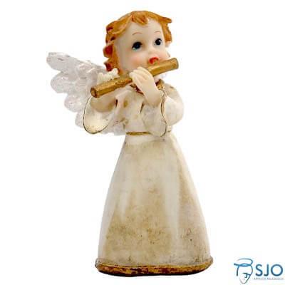 Anjo de Resina com Flauta - 10 cm