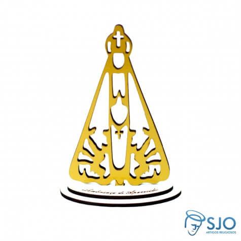 Nossa Senhora Aparecida em Madeira Dourada -12 cm