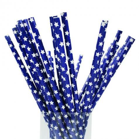 Canudos de Papel Azul com Estrelas - 25 Unidades