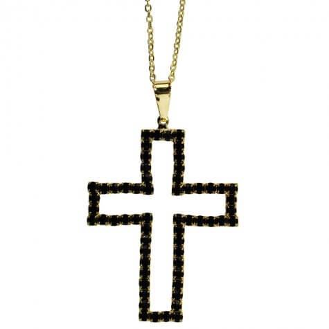 Colar Folheado Crucifixo Vazado com Strass