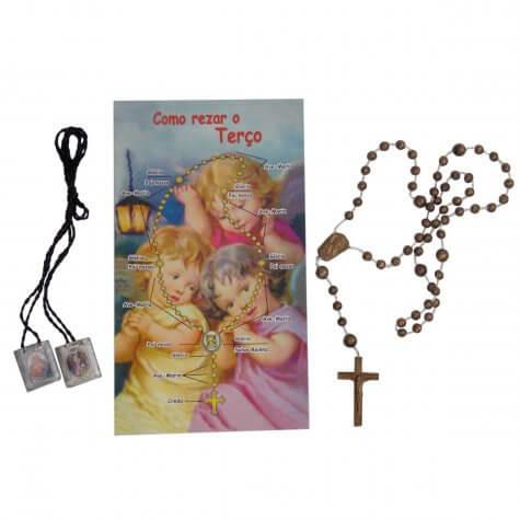 Kit escapulário com terço e oração color:Única;size:Único