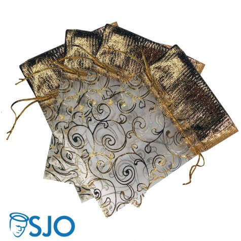 50 Saquinhos de Organza com detalhes dourados - 15 x 10