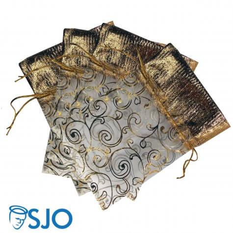 100 Saquinhos de Organza com detalhes dourados - 19 x 14