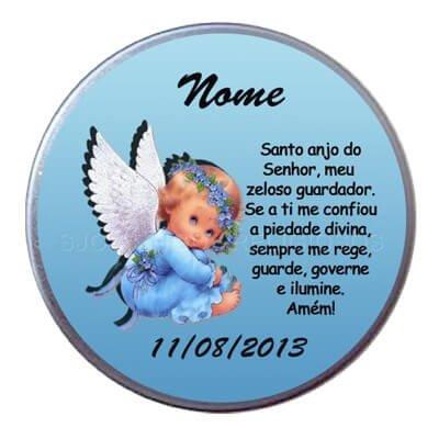 Latinha nascimento com oração anjo da guarda