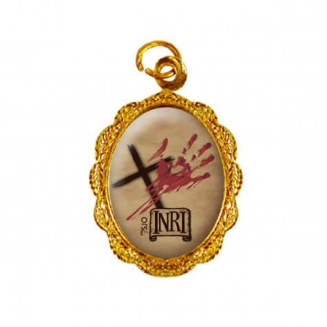 Medalha de Alumínio - Mãos Ensanguentadas de Jesus