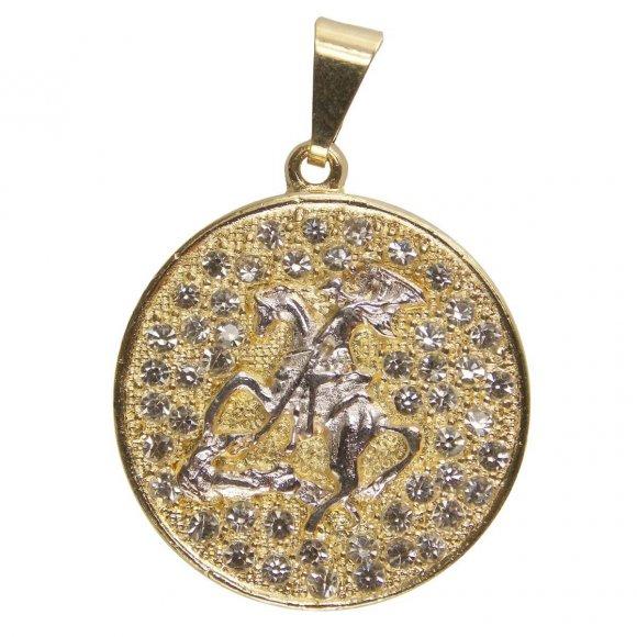 Pingente de São Jorge Folheado a Ouro com Strass