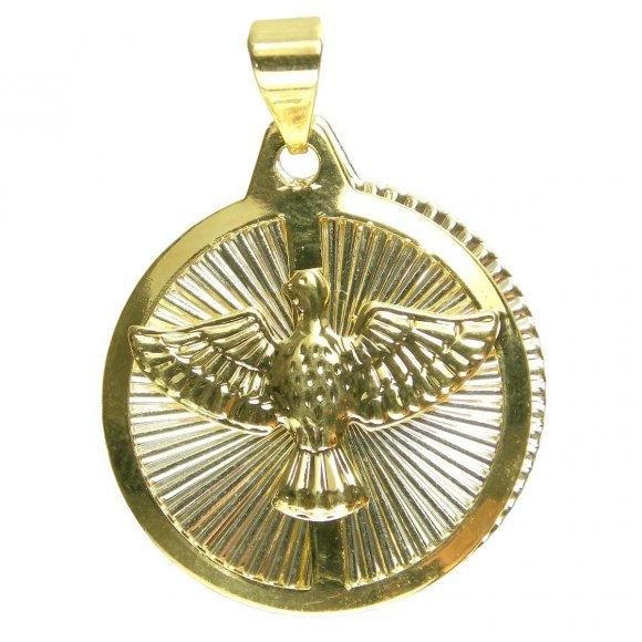 Pingente do Divino Espirito Santo Folheado a Ouro Pequena