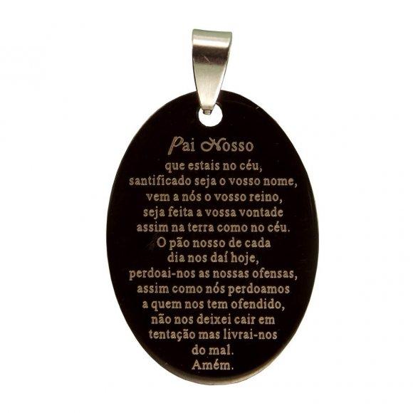 Medalha Inox Preta com Oração do Pai Nosso