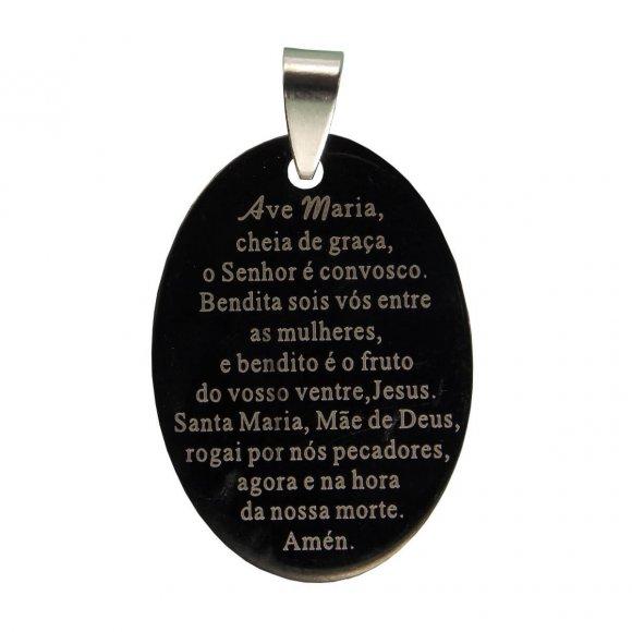 Medalha Inox Preta com Oração de Ave Maria