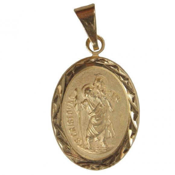 Pingente Oval de São Cristóvão Folheado a Ouro - 2 cm