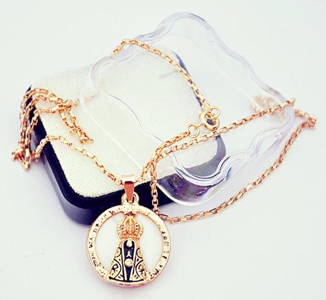 Medalha Folheada a Ouro Red Nossa Senhora Aparecida ST