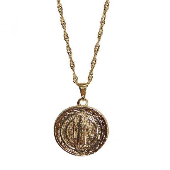 Pingente Folheado Medalha de São Bento