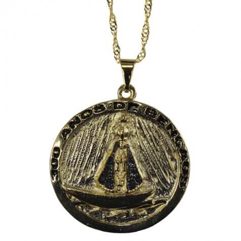 Colar Folheado com Medalha 300 Anos Aparecida - Mod. 2