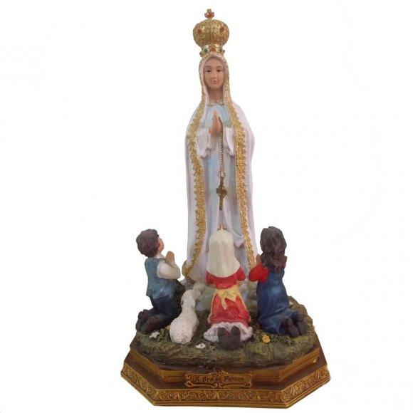 Imagem de Resina Nossa Senhora de Fátima com pastores - 15 cm
