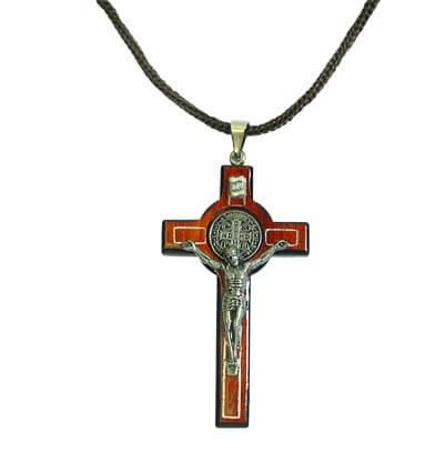 Cordão com cruz de São Bento - 7 cm