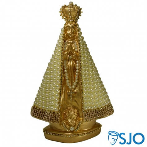 Nossa Senhora Aparecida Dourada em Pérola Branca - 25 cm