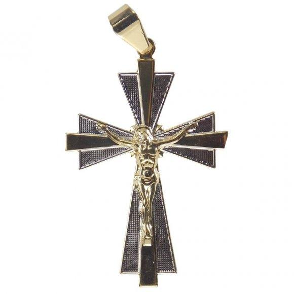 Pingente Crucifixo Folheado a Ouro com Ródio