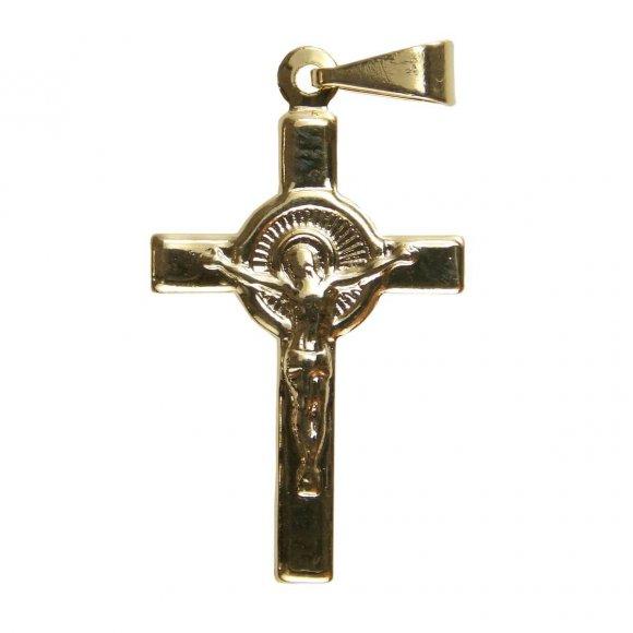 Pingente de Crucifixo Folheado a Ouro