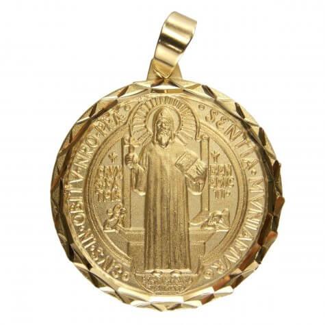 Pingente de São Bento Diamantado Folheado a Ouro Grande