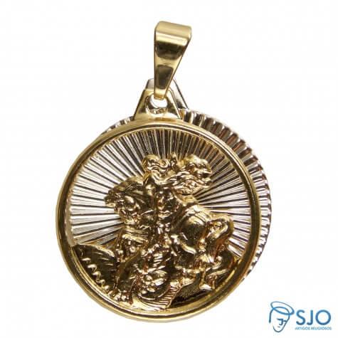 Pingente de São Jorge Folheado a Ouro