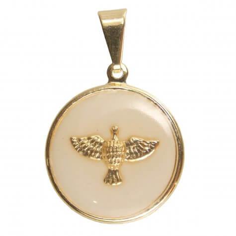 Pingente do Divino Espirito Santo Chapinha Folheado a Ouro Pequeno