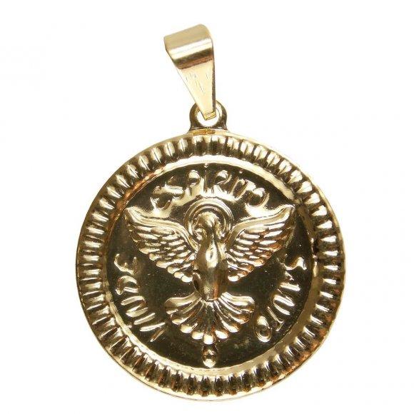 Pingente Espirito Santo Chapinha Estampado Folheado a Ouro