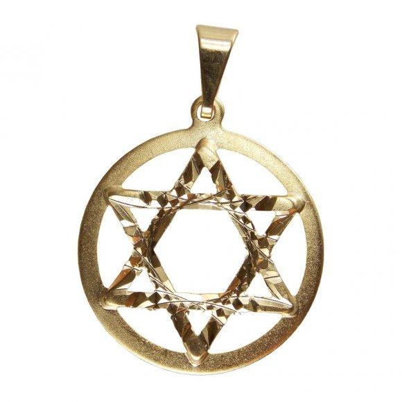 Pingente Estrela de David Folheado a Ouro Pequena