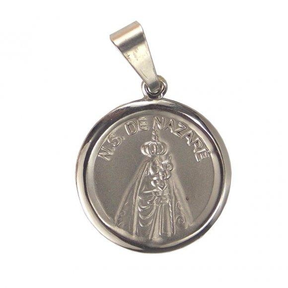 Medalha Redonda de Inox de Nossa Senhora de Nazaré