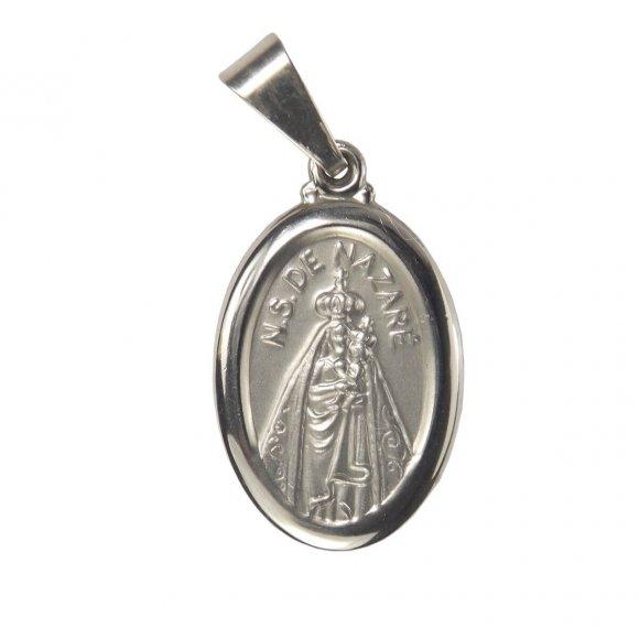 Medalha Oval de Inox de Nossa Senhora de Nazaré