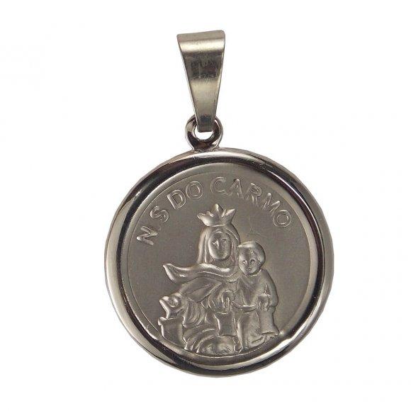 Medalha Redonda de Inox de Nossa Senhora do Carmo