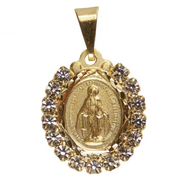 Pingente Nossa Senhora das Graças Folheado a Ouro com Strass