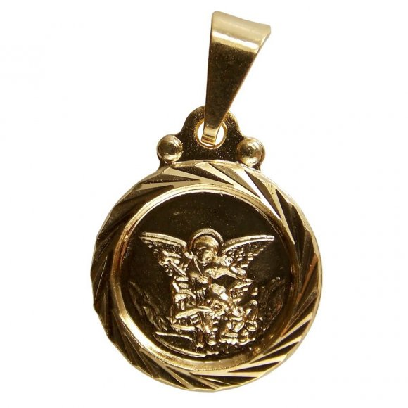 Pingente Redondo de São Miguel Folheado a Ouro - 2 cm
