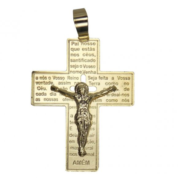 Pingente de Crucifixo com Pai Nosso
