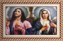 Quadro Religioso Sagrado Coração de Jesus e Maria - 70 x 50 cm - Mod. 2