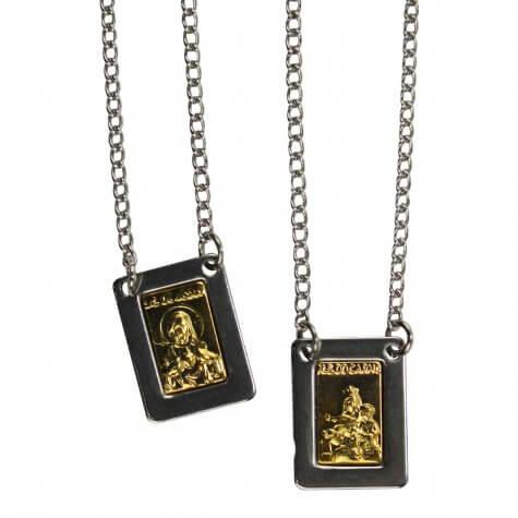 Escapulário de Inox Quadrado com Dourado - 30 cm
