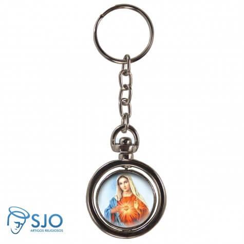 Chaveiro Redondo Giratório - Sagrado Coração de Maria - Modelo 1
