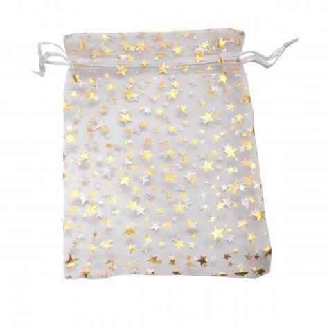 Saquinho de Organza 12 x 16 Branco com Estrelas Douradas