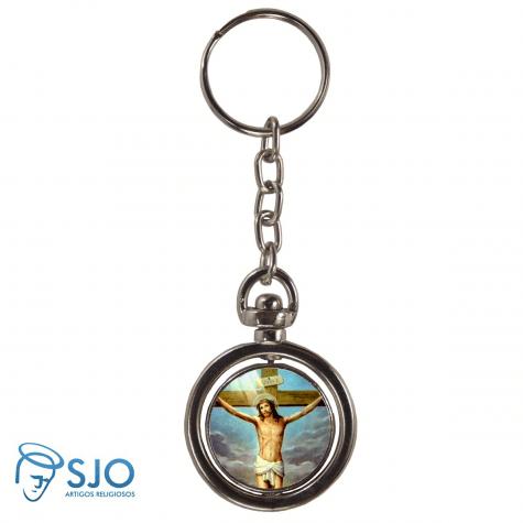 Chaveiro Redondo Giratório - Jesus Crucificado