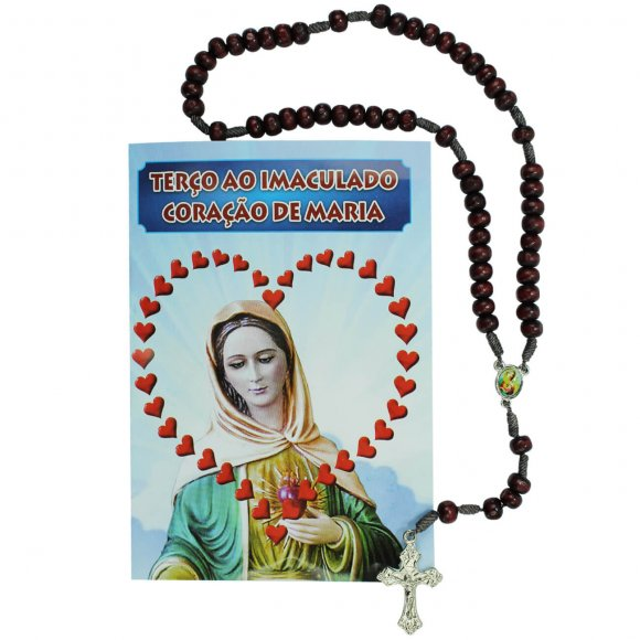 Terço com Folheto Imaculado Coração de Maria